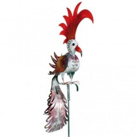 """Gartenstecker Vogel """"Phoenix"""" weiss-rot Höhe 168 cm"""