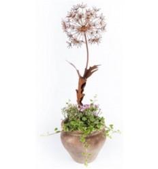 Gartenstecker Löwenzahn klein mit 2 Blätter - Höhe 100 cm - Blumenstecker