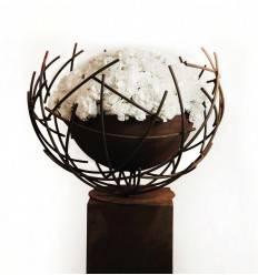 schwebende Pflanzschale - Draht-Halbkugel 50 cm Ø - mit Innenschale wassedicht - Moderne Gartendeko