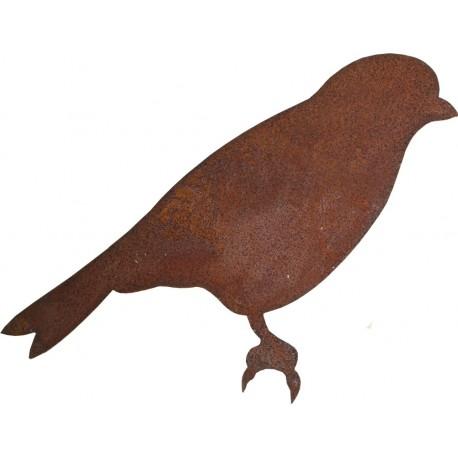 Spatz mit Baumspieß L: 16 cm in Edelrost - Vogel