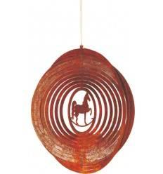 Edelrost Windspiel Spirale Pferd Ø 18 cm