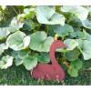 Gans seitlich sitzend auf Stab Bauernhoftiere Gänse aus Edelrost Tierfiguren Gartenfiguren
