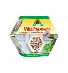 Nützlingswabe für Wildbienen und Grabwespen aus Holz - Insekten und Gartenschutz