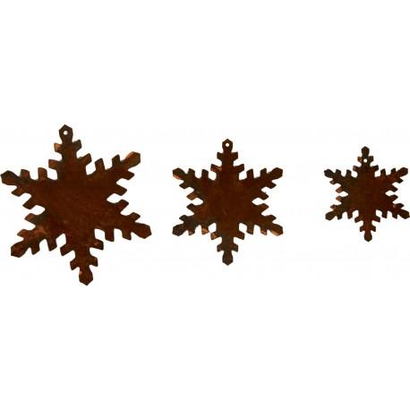 3 tlg. Schneeflocken - Kette Edelrost