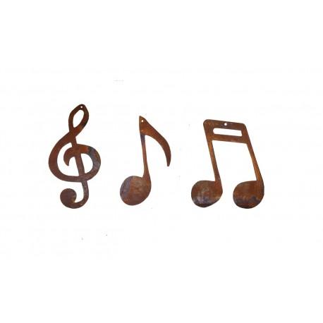 3 tlg. Musiknoten Set aus Edelrost
