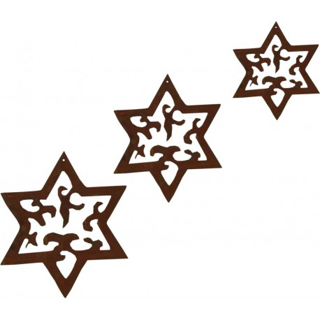 3 tlg. Sternenkette -Madera- Edelroststerne in 3 Größen