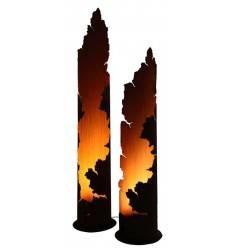 runde Rostsäule offen - Messina - 150 cm hoch - Lichtsäule mit Rissen
