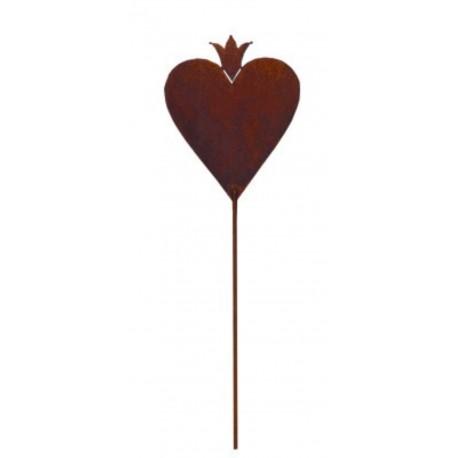 Herz mit Krone 20cm hoch Gartenstecker