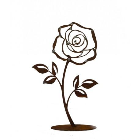 """Deko Rose """"klein"""" mit Glitzer Kristallen -  2er Set Höhe je 18 + 25 cm"""