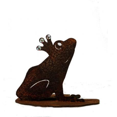 Deko Froschkönog mit Glitzer Krönchen auf Seerosenblatt -  Höhe 8cm