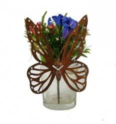 Filigraner Schmetterling mit Glitzersteinen für Vasen - Höhe 17 cm