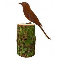 Deko Vogel Luis auf Baumstamm - Metallsatz - Höhe 30 cm