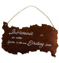"""Tafel """"Zufriedenheit"""" inkl. Beschriftung und Kordel - Höhe 50 cm"""