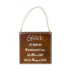 "Tafel ""Glück/Verstand"" inkl. Beschriftung und Kordel - Höhe 30 cm"
