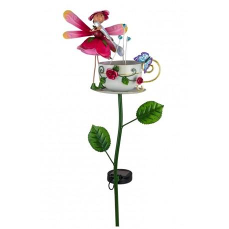 "Solar Gartenstecker Rosenblumen Fee ""Rosie"" Höhe 86 cm"