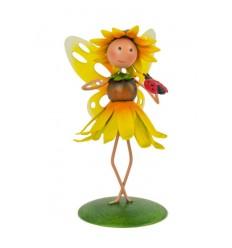 """Dekofigur Sonnenblumen-Fee """"Honey"""" auf Platte Höhe 9 cm"""