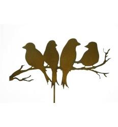 Gartenstecker mit 4 Vögel auf Ast