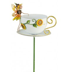 Gartenstecker Sonnenblume - Tasse für Vogelfutterr - Höhe 60 cm