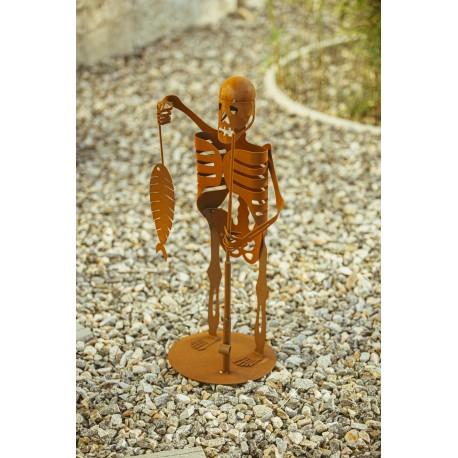 Deko Skelett beim Angeln -  Gruselige Teichdeko für Halloween -  Höhe 70 cm