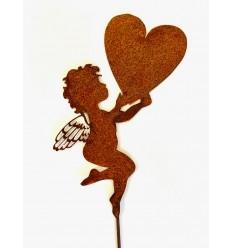 """Gartenstecker Engel mit Herz """"Fiona"""" - Höhe 20 cm"""
