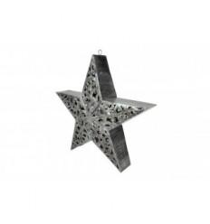 Premium Stern 3D mit LED Beleuchtung - schwarz-silber - Höhe 55 cm