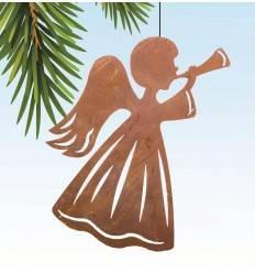 Christbaumschmuck Engel mit Trompete - Edelrost