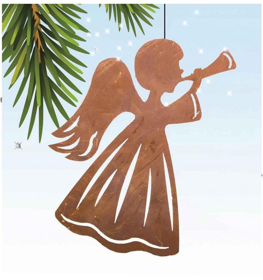Edelrost christbaumschmuck rostiger engel mit trompete for Engel edelrost