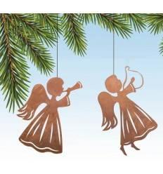 Engel mit Harfe und Engel mit Posaune im Set- Edelrost