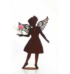 Dekofigur Engel Lea mit aufgesetzten Flügel und Platte in Hand - Höhe 56 cm