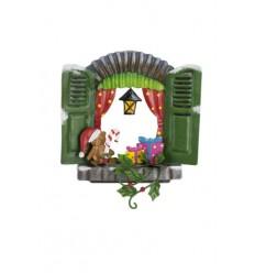 Weihnachtliche Feentür mit Geschenk und Teddy - Höhe 13 cm