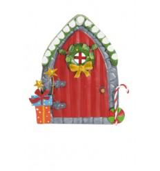 Weihnachtliche Feentür in Rot mit Zuckerstangen - Höhe 16cm