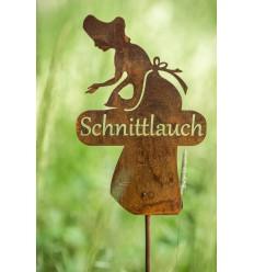 Gartenstecker Kräuterdame Schnittlauch - 18 x 30 cm