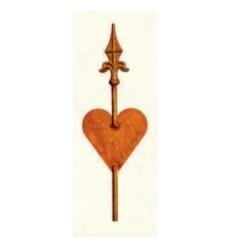 XL Rankstab Herz mit Lilienspitze - Höhe 160 cm