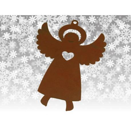 Christbaumschmuck Engelchen mit Flügel nach oben - Edelrost