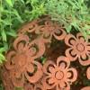 Edelrost Blumen Deko kugel Ø 40 cm mit Blumen geschweist