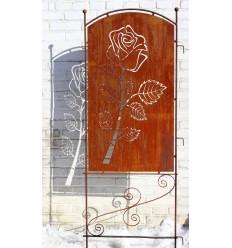 Garten Sichtschutz Rose mit Ornament, Metallwand Höhe 140 cm Gesamthöhe 190 cm - zum Stecken
