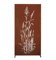 Sichtschutzwand Metall mit Motiv China Gras - Höhe 180 cm - Trennwand Garten