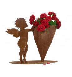 Rost Engelchen mit Herz zum Befüllen, Höhe 50 cm, auf Platte Edelrost Engel Putte Engelsputte