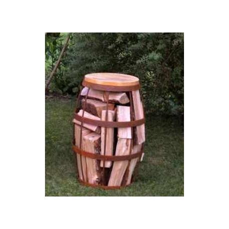 Metallfass-Hocker zum Befüllen mit Holz Edelrost