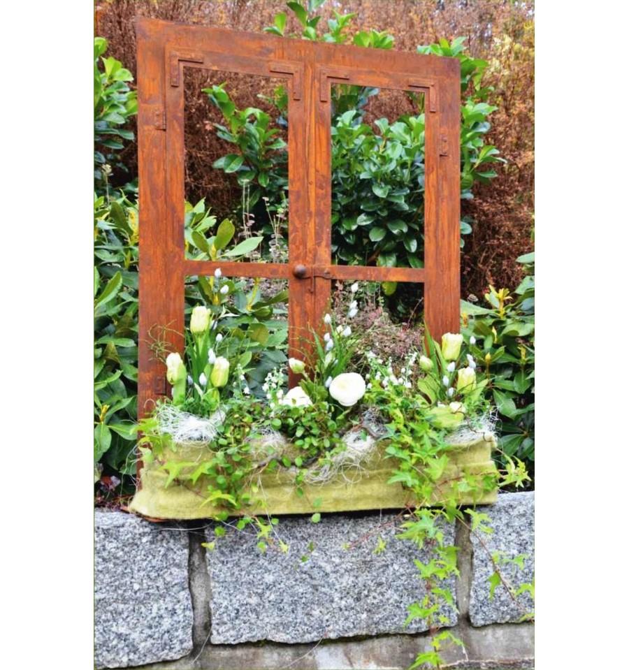 Deko fenster aus edelrost 80 x 60 cm metallmichl for Fenster 60 x 30
