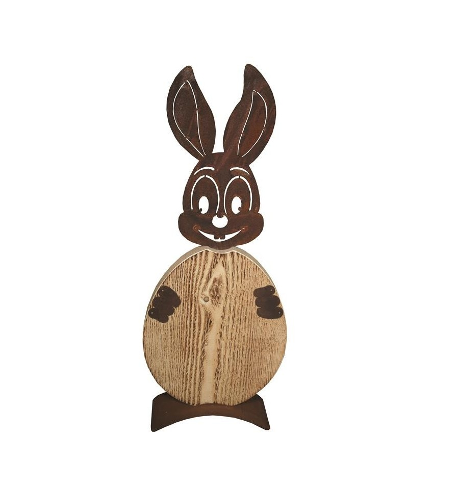 rost hase christl mit ei aus holz edelrost osterhase f r. Black Bedroom Furniture Sets. Home Design Ideas