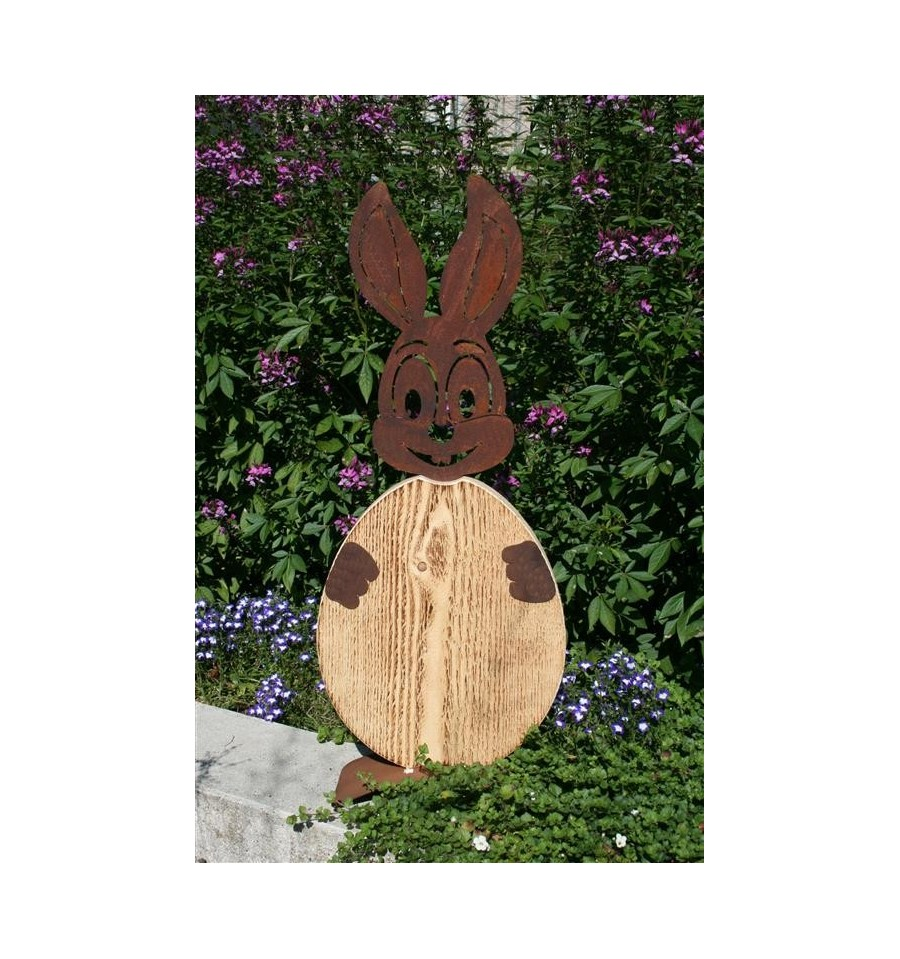 rost hase christl mit ei aus holz edelrost osterhase f r den garten. Black Bedroom Furniture Sets. Home Design Ideas