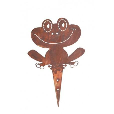 Rost Frosch - Froschstecker für Garten oder zum Anschrauben an Zaun Edelrost