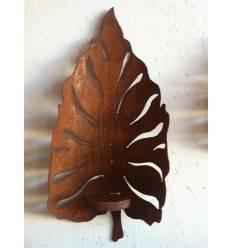 Wandfackel Blatt klein - rostige Gartendeko Windlicht zum festschrauben