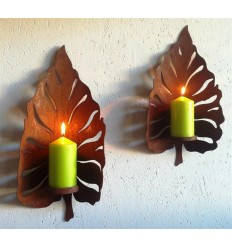 Edelrost kerzenhalter und lampen f r wandmontage metallmichl - Rostige gartendeko ...