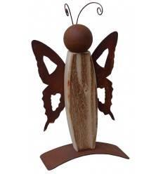Edelrost Schmetterling -Timi- 40 cm mit angeflammten Holz