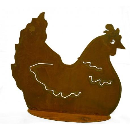 Henne brütend h 32 cm sitzendes Rost Huhn