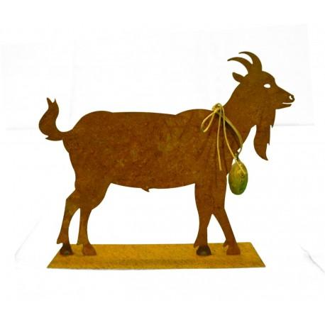 Edelrost Ziege mit Glocke 30 cm - rostige Gaiß