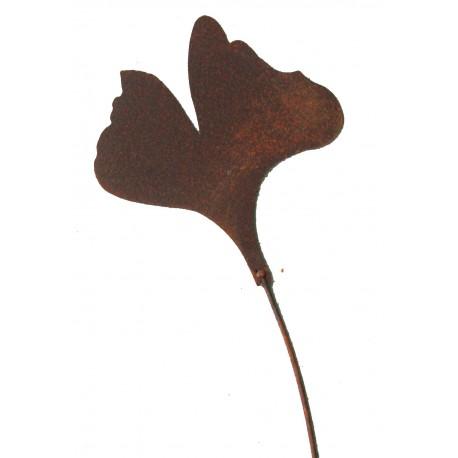 Ginkgoblatt Gartenstecker klein Ø 15cm, L 60cm in Edelrost