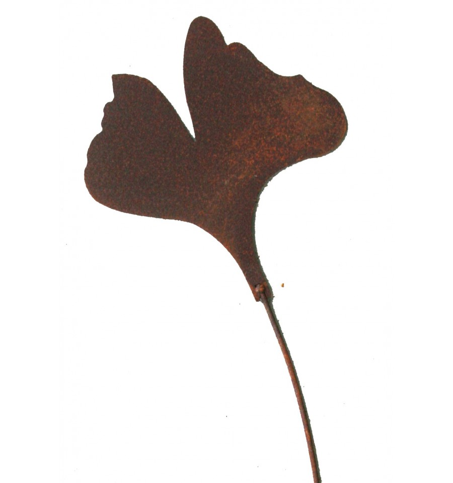Edelrost gingkoblatt gartenstecker 15cm gartendeko for Gartenstecker edelrost